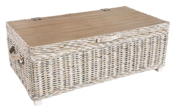 Casares White Rattan Storage Coffee Table